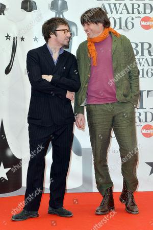 Brit Awards 2016 at the O2 - Arrivals Blur - Graham Coxon and Alex James