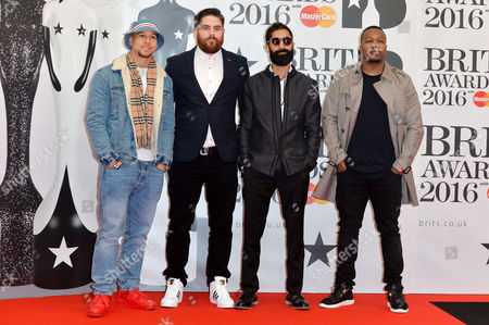 Brit Awards 2016 at the O2 - Arrivals Rudimental - Piers Agget Amir Amor Kesi Dryden and Leon Rolle