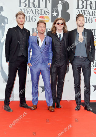 Brit Awards 2016 at the O2 - Arrivals Lawson - Andy Brown Ryan Fletcher Joel Peat and Adam Pitts