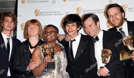 British Academy Television Awards at the Royal Festival Hall - Pressroom Andrew Garfield Presents Best Drama Serial For 'Criminal Justice' to Ben Whishaw Peter Wilkie Otto Bathurst Abd Peter Moffat