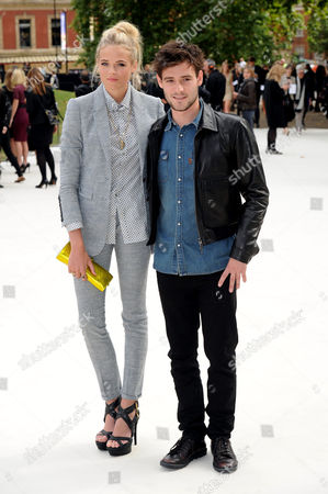 Stock Image of Burberry Ss2012 Collection Arrivals During London Fashion Week 2012 at Kensington Gardens Gabriella Wilde (anstruther Gough Calthorpe) and Roo Panes