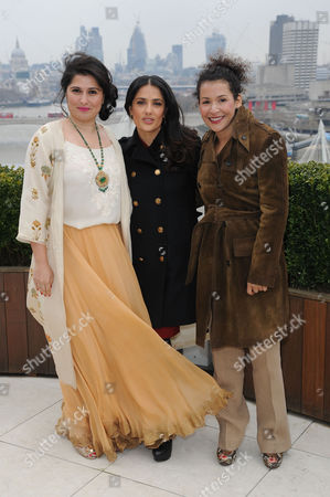 Chime For Change Photocall at the Corinthia Hotel Sharmeen Obaid-chinoy Salma Hayek Pinault and Mariane Pearl