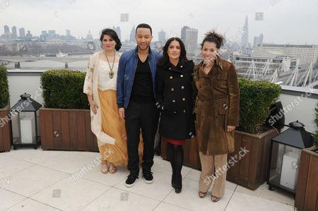 Chime For Change Photocall at the Corinthia Hotel Sharmeen Obaid-chinoy John Legend Salma Hayek Pinault and Mariane Pearl