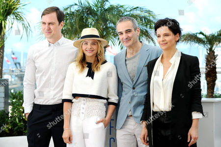 Clouds of Sils Maria Photocall at the Palais Des Festivals During the 67th Cannes Film Festival Lars Eidinger Chloe Grace Moretz Juliet Binoche and Director Olivier Assayas