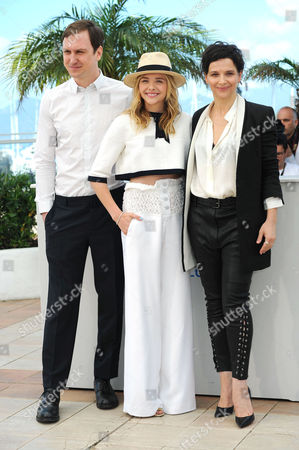 Clouds of Sils Maria Photocall at the Palais Des Festivals During the 67th Cannes Film Festival Lars Eidinger Chloe Grace Moretz and Juliet Binoche