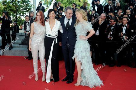 Clouds of Sils Maria Red Carpet at the Palais Des Festivals During the 67th Cannes Film Festival Kristen Stewart Juliet Binoche Director Olivier Assayas and Chloe Grace Moretz