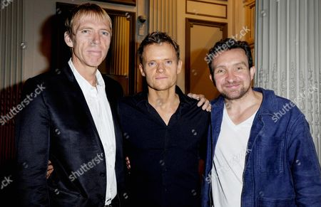 Cool Hand Luke First Night Curtain Call at the Aldwych Theatre and Afterparty at the Waldorf Hotel Richard Brake Marc Warren and Eddie Marsan