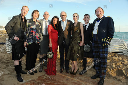 Cast of 'The Angel's Share Photographed at the Creative Scotland Reception at Long Beach During the 65th Cannes Film Festival William Ruane Rebecca O'brien Gary Maitland Jasmin Riggins Ken Loach Siobhan Reilly Paul Brannigan and Charlie Mclean
