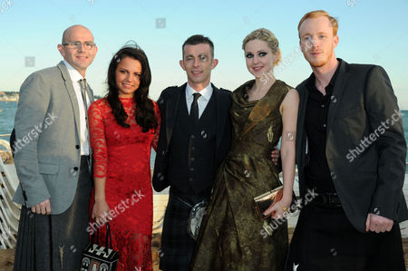 Stock Picture of Cast of 'The Angel's Share Photographed at the Creative Scotland Reception at Long Beach During the 65th Cannes Film Festival Gary Maitland Jasmin Riggins Paul Brannigan Siobhan Reilly and William Ruane