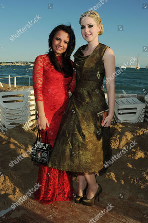 Cast of 'The Angel's Share Photographed at the Creative Scotland Reception at Long Beach During the 65th Cannes Film Festival Jasmin Riggins and Siobhan Reilly