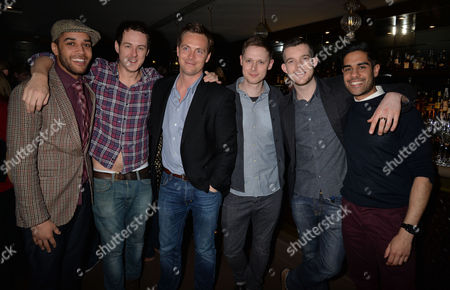 After Party For Untold Stories at the Radisson Blu Hotel Leicester Square Westminster London Samuel Anderson Andrew Knott Stephen Campbell Moore Sam Barnett Russell Tovey & Sacha Dhawan