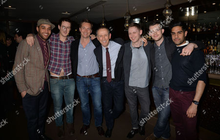 After Party For Untold Stories at the Radisson Blu Hotel Leicester Square Westminster London Samuel Anderson Andrew Knott Stephen Campbell Moore Nicholas Hytner Sam Barnett Russell Tovey & Sacha Dhawan