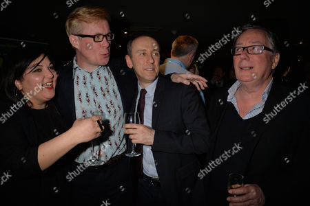 After Party For Untold Stories at the Radisson Blu Hotel Leicester Square Westminster London Alex Jennings ( C ) with the 2 Directors Nadia Fall & Nicholas Hytner and Jeff Rawle