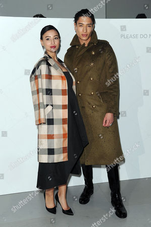 Daks Fashion Show at the Bfc Tent Somerset House During Lfw Autumn/winter 2014 Front Row - Leah Weller with Her Brother Nat