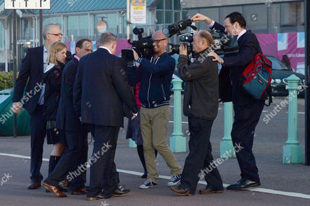 Labour Party Conference Brighton Damian Mcbride Does an Early Morning Tv Interview On the Brighton Sea Front