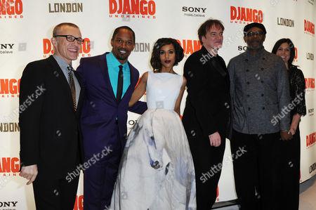 Django Unchained Uk Premiere at the Empire Leicester Square Christoph Waltz Jamie Foxx Kerry Washington Quentin Tarantino Samuel L Jackson and Pilar Savone