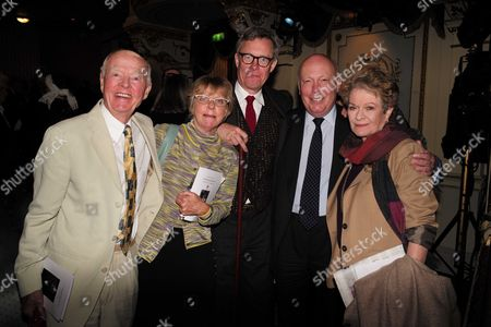 19 05 2015 A Celebration of the Life of Sir Donald Sinden at Wyndham's Theatre Charing Cross Road London Ray Cooney Selina Cadell Alex Jennings Lord Julian Fellowes & Dame Janet Suzmam
