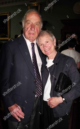 19 05 2015 A Celebration of the Life of Sir Donald Sinden at Wyndham's Theatre Charing Cross Road London Geoffrey Palmer with His Wife Sally Green