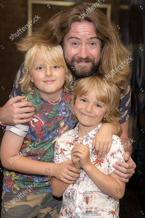 Earth to Echo Gala Screening at the Mayfair Hotel Justin Lee Collins with His Sons Archie and Harvey
