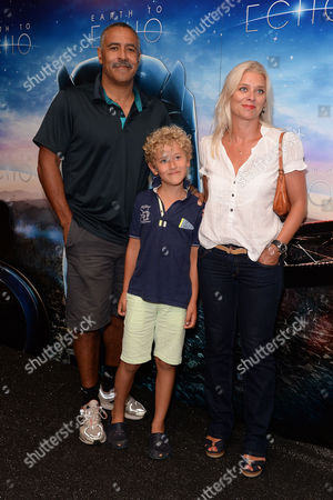 Earth to Echo Gala Screening at the Mayfair Hotel Daley Thompson with His Partner Lisa Clayton and Son