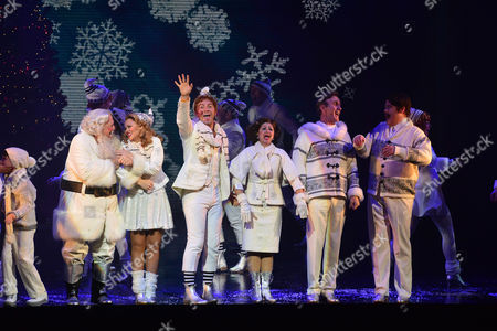 Elf the Musical Press Night Curtain Call at the Dominion Theatre Graham Lappin Mark Mckerracher Jessica Martin Ben Forster Kimberley Walsh Joe Mcgann and Jennie Dale