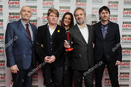 Empire Film Awards Press Room at the Grosvenor House Hotel Michael G Wilson Barbara Broccoli Sam Mendes Neal Purvis (best Film - Skyfall)