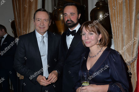 59th Evening Standard Drama Awards at the Savoy Hotel Kevin Spacey Evgeny Lebedev and Sarah Sands