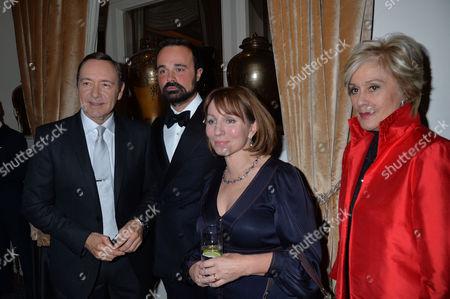 59th Evening Standard Drama Awards at the Savoy Hotel Kevin Spacey Evgeny Lebedev Sarah Sands and Kiri Te Kanawa