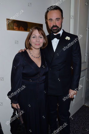 59th Evening Standard Drama Awards at the Savoy Hotel Evgeny Lebedev and Sarah Sands