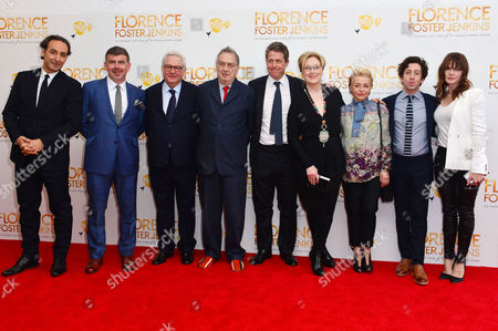 Florence Foster Jenkins World Premiere at Odeon Leicester Square Alexandre Desplat Producers Nicholas Martin and Michael Kuhn Director Stephen Frears Hugh Grant Meryl Streep Producer Tracey Seaward Simon Helberg and Rebecca Ferguson