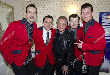 Frankie Valli Meets the Four Seasons Ryan Molloy (frankie) Matthew Wycliffe (bob Gaudio) Jon Boydon (tommy Devito) and Eugene Mccoy (nick Massi) Backstage After Seeing Jersey Boys at the Prince Edward Theatre Old Compton Street
