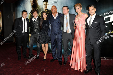 Gi Joe 3d Retaliation Premiere at the Empire Leicester Square Jon M Chu (director) Byung-hun Lee Elodie Yung Dwayne Johnson Channing Tatum Adrianne Palicki and D J Cotrona