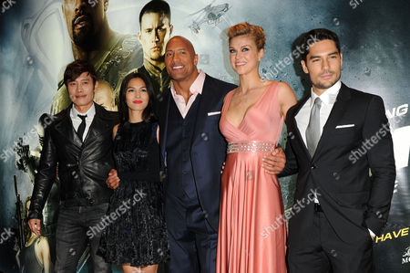 Gi Joe 3d Retaliation Premiere at the Empire Leicester Square Byung-hun Lee Elodie Yung Dwayne Johnson Adrianne Palicki and D J Cotrona