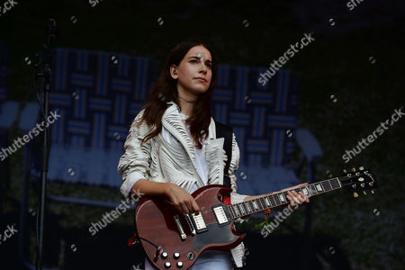 Stock Picture of Glastonbury Festival 2014 - Friday Haim Perform On the Other Stage Este Arielle Danielle Sari and Alana Mychal Haim