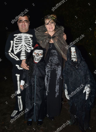 Jonathan Ross Hosts His Annual Halloween Party at His Home Amanda Ross (jonathan's Sister-in-law ) with Her Husband Simon Ross and Their Two Sons