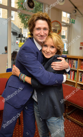 07 08 2014 A New Autobiography I Joke to Much by Michael Rudman the Theatre Director's Tale Launch Party and Reading at French's Bookshop Fitzroy Street London Felicity Kendal with Her Son Jacob Rudman