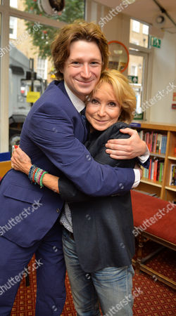 Stock Image of 07 08 2014 A New Autobiography I Joke to Much by Michael Rudman the Theatre Director's Tale Launch Party and Reading at French's Bookshop Fitzroy Street London Felicity Kendal with Her Son Jacob Rudman