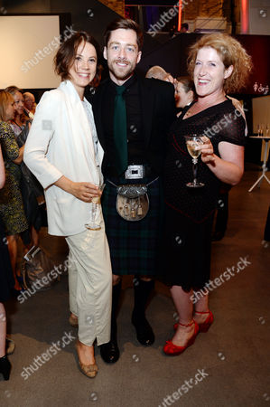 Stock Photo of Imperial War Museum Relaunch Party Alice St Clair with Richard Rankin and Sarah Phelps (the Crimson Field)