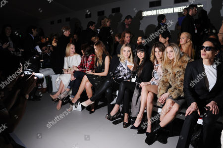 Jean-pierre Braganza Fashion Show at the Courtyard Space Somerset House During Aw 2015 Lfw Front Row - Alice Naylor-leyland Yasmin Le Bon Amber Le Bon Zara Martin and Jade Williams with Nat Weller