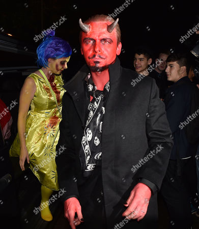 Jonathan Ross's Halloween Party at His Home in Hampstead Simon Pegg with His Wife Maureen Pegg
