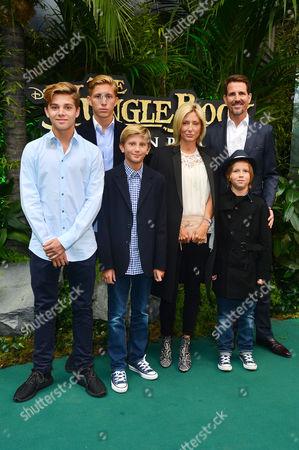 Jungle Book European Premiere at the Bfi Imax Waterloo Marie-chantal Crown Princess of Greece and Pavlos Crown Prince of Greece with Their Children