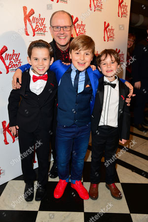 Stock Image of Kinky Boots Press Night Afterparty at the Connaught Rooms Beau Cripps Edward Green Ben Dawson with Alan Vicary