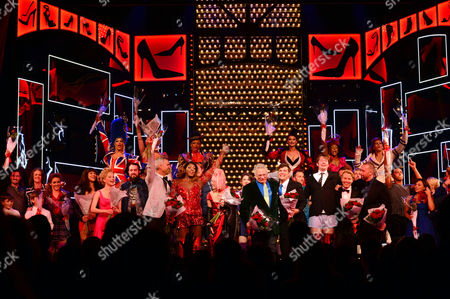 Kinky Boots Press Night Afterparty at the Connaught Rooms Curtain Call at the Adelphi Theatre the Strand - Director Jerry Mitchell Matt Henry Cyndi Lauper Harvey Fierstein Killian Donnelly