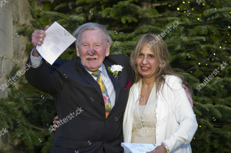 Stock Picture of Leslie Phillips with His New Wife Zara Carr at Their Wedding Blessing at St Mark's Church Maida Vale
