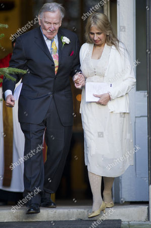 Leslie Phillips with His New Wife Zara Carr at Their Wedding Blessing at St Mark's Church Maida Vale