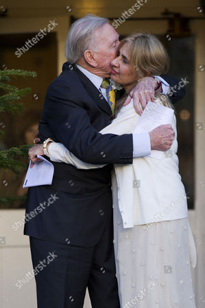 Editorial photo of Leslie Phillips with His New Wife Zara Carr - 20 Dec 2013