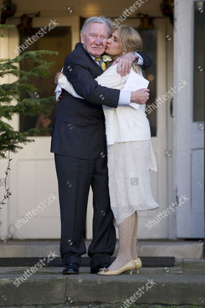 Editorial picture of Leslie Phillips with His New Wife Zara Carr - 20 Dec 2013