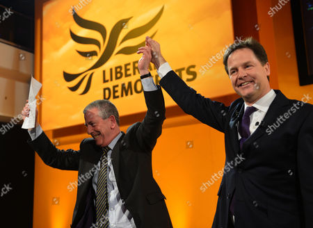the Liberal Democrats Spring Conference at Hilton Brighton Metropole Mike Thornton Mp For Eastley Joins Nick Clegg After His Keynote Conference Speech On Stage