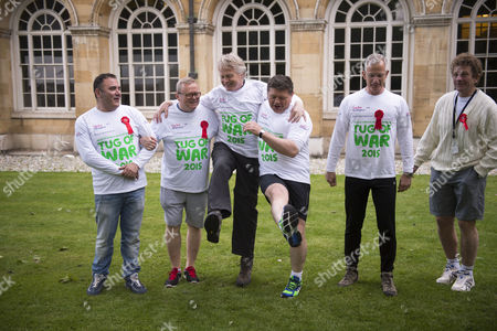 Stock Photo of 02 06 2015 Macmillan's House of Lords Vs House of Commons Tug of War Westminster College Gardens London the Mp's Team James Heappey Mp Kris Hopkins Mp Graham Evans Mp David Burrows Mp Chris Law Mp Angus Macneil Mp Alec Shelbrooke Mp Mark Spencer Mp & Mike Penning Mp