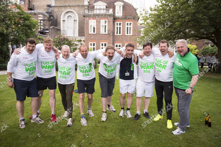 02 06 2015 Macmillan's House of Lords Vs House of Commons Tug of War Westminster College Gardens London the Lord's Team Lord Karan Bilmoria Lord St John of Bletso Lord Edward Faulks Lord Brian Paddick Lord Dominic Addington Lord Michael Dodds Lord Collins of Highbury & His Husband Rafael Ballesteros